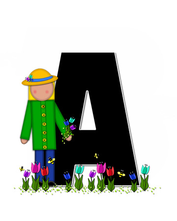 straw hat: The letter A, in the alphabet set Children Spring Tulips is black and trimmed with white.  Child holds bouquet of tulips and wears a straw hat.  Tulip garden grows at her feet.