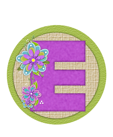 The letter E, in the alphabet set Backyard Bouquet, is lilac and decorated with layered flowers in blue and lilac.  Background circle has woven texture and outlined in green.