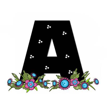 country flowers: The letter B, in the alphabet set Country Lane Two is pink with black outline.  Letter sits on arrangement of country flowers in pink and blue.