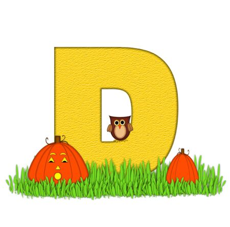 pumpkin patch: The letter D, in the alphabet set Pumpkin Patch  is  a yellow and and sits in the green grass of a pumpkin patch.  Two orange pumpkins and an owl decorate letter.