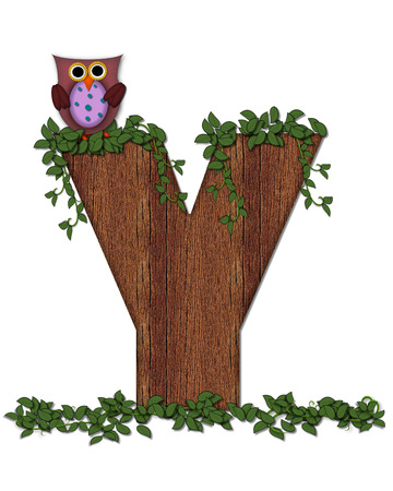 jungle vines: The letter Y, in the alphabet set Deep Woods Owl is filled with wod texture and has vines growing all over it.  Owl sits on log-style letter.