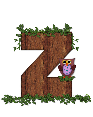 The letter Z, in the alphabet set Deep Woods Owl is filled with wod texture and has vines growing all over it.  Owl sits on log-style letter.