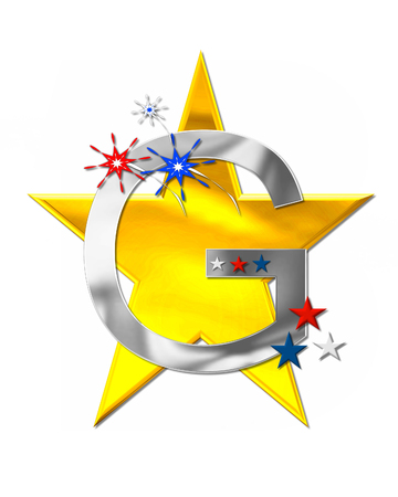 The letter G, in the alphabet set Patriotism is silver metalic.  Fireworks and stars decorate letter with red, white and blue.  Golden star serves as background.