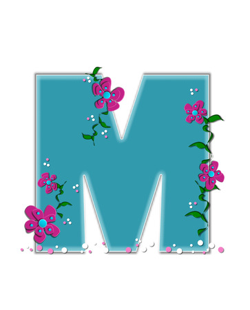 The letter M, in the alphabet set Fairy Tale Garden, is aqua and decorated with 3D flowers, vines and confetti.