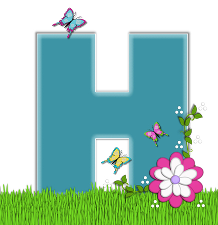 flower vines: The letter H, in the alphabet set Happy Springtime, is turquoise.  Letter is sitting on bright green grass and is decorated with flower and vines.  Butterflies flutter around letter.