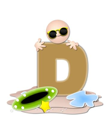 tan: The letter D, in the alphabet set Ocean Swimming is tan.  Letter sits on beach and is decorated with swimmer, water, bubbles and yellow starfish.