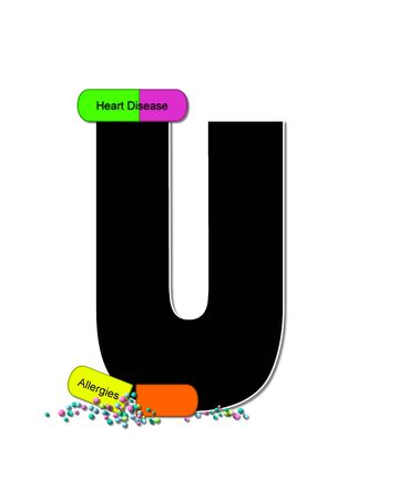 The letter U, in the alphabet set Wellness Check, is black and outlined with white.  RX capsules decorate letter with health diseases on each capsule.