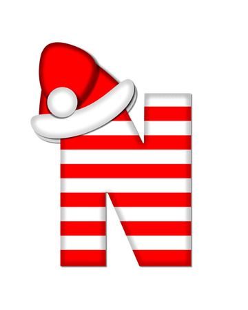 letter from santa: The letter N, in the alphabet set Christmas Candy Cane, is red and white striped.  Letter is decorated with floppy Santa cap. Stock Photo