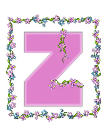 daisy pink: The letter , in the alphabet set Daisy Fair Pink is a soft pastel shade of lilac.  Garland of ivy and flowers covers outline of letter and small chains of flowers hang from letter. Stock Photo