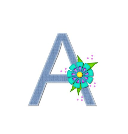 dandy: The letter A, in the alphabet set Denim Dandy, is filled with light blue denim.  Letter is decorated with bright colored flower with polka dots. Stock Photo