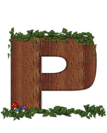 The letter P, in the alphabet set Log is filled with wod texture.  Vines and colorful mushrooms grow around letter.  Some letters have knot holes with peeking eyes.