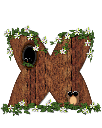 The letter X, in the alphabet set Log Home is filled with wood texture.  Flower bloom on vines hanging on letter.  One owl hides in knothole and the other outside the stump home.