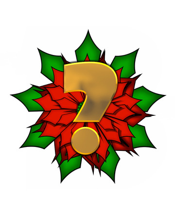 Question mark, in the alphabet set Christmas Poinsettia is shiny gold metallic.  Letter sits on a large red, poinsettia.