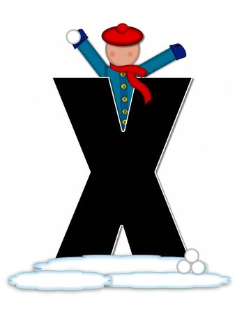 snow cap: The letter X, in the alphabet set Children Snow Fight, is black and outlined with white.  Children, dressed in cap, scarf and mittens, hold snowball ready for a fight. Stock Photo