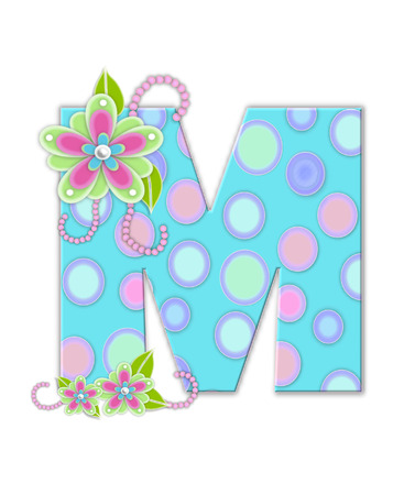 softly: The letter M, in the alphabet set Softly Spotted, is soft aqua.  Letter is decorated with pastel circles, flowers and beads.