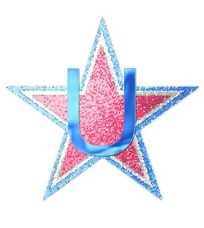 metalic: The letter U, in the alphabet set Red White and Blue is blue metallic.  Letter sits on three mosaic stars of red, white and blue.