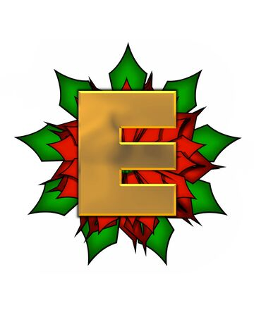 The letter E, in the alphabet set Christmas Poinsettia is shiny gold metallic.  Letter sits on a large red, poinsettia.