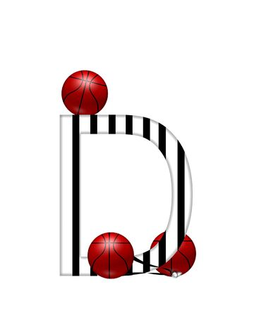 The letter D,in the alphabet set Referee, is black and white striped.  A whistle, on a black ribbon, and basketballs decorate each letter. Stock Photo