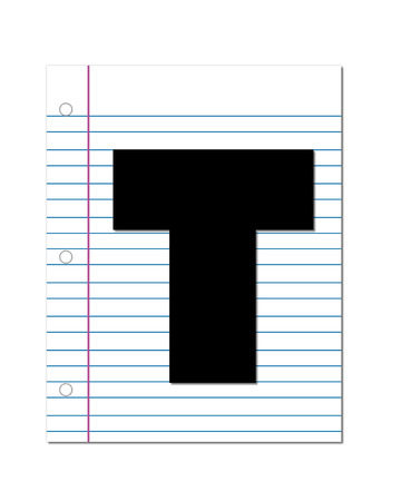 coordinates: The letter T, in the alphabet set Start of School, is black.  Letter is setting on a blank piece of notebook paper.  This set coordinates with Alphabt Start of School Two which has children and pencils.