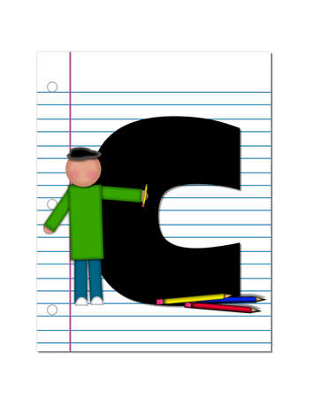coordinates: The letter C, in the alphabet set Start of School Two, is black.  Letter is sitting on a blank piece of notebook paper and is decorated with pencils and student.  This set coordinates with Alphabt Start of School. Stock Photo