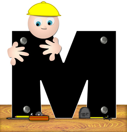 inspecting: The letter M, in the alphabet set Construction Worker, is black with silver nails embedded in letter.  Construction worker bends over inspecting letter.  Tools sit beside letter on wooden planks.