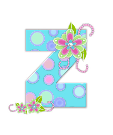 The letter Z, in the alphabet set Softly Spotted, is soft aqua.  Letter is decorated with pastel circles, flowers and beads. Stock Photo