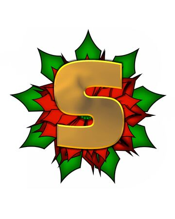 The letter S, in the alphabet set Christmas Poinsettia is shiny gold metallic.  Letter sits on a large red, poinsettia.