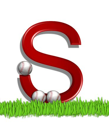 The letter S, in the alphabet set Baseball, is red.  Three baseballs decorate 3D letter.  All sit in a field of green grass.