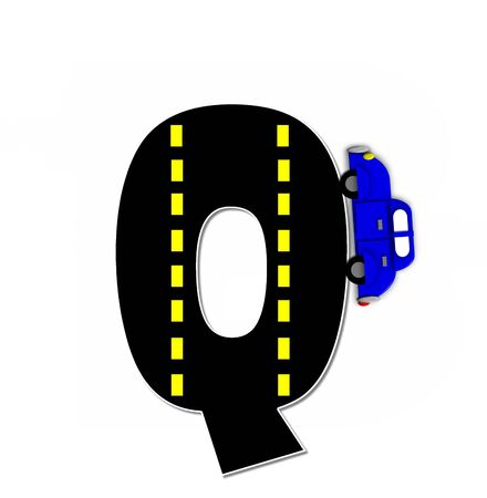 motorized: The letter Q, in the alphabet set Transportation by Road, is black with yellow dividing line representing a black top road.  Colorful, motorized vehicle navigates outside of letter.