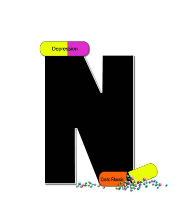 cystic fibrosis: The letter N, in the alphabet set Wellness Check, is black and outlined with white.  RX capsules decorate letter with health diseases on each capsule.