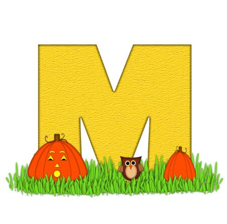pumpkin patch: The letter M, in the alphabet set Pumpkin Patch  is  a yellow and and sits in the green grass of a pumpkin patch.  Two orange pumpkins and an owl decorate letter. Stock Photo