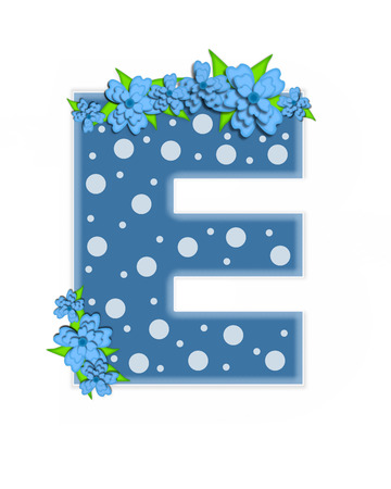 The letter E, in the alphabet set Dusty Blue Dots, is Blue.  Letter is decorated with blue flowers and is covered in large and small polka dots. Stock Photo