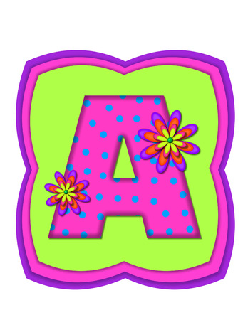 hot pink: The letter A, in the alphabet set Daisy Daze, is colored in vivid pink with teal polka dots.  It is decorated with four layered daisies.  All sit on a pillow of neon green, hot pink and purple. Stock Photo
