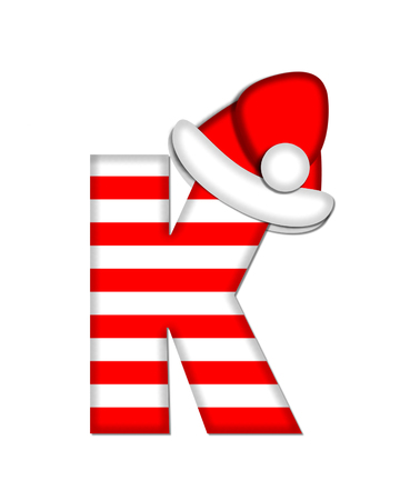 The letter K, in the alphabet set Christmas Candy Cane, is red and white striped.  Letter is decorated with floppy Santa cap. Stock Photo
