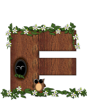 The letter F, in the alphabet set Log Home is filled with wod texture.  Flower bloom on vines hanging on letter.  One owl hides in knothole and the other outside the stump home.