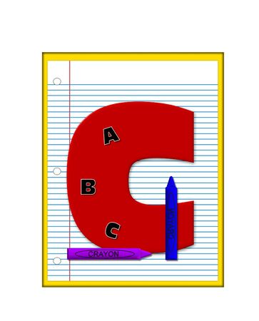decorate notebook: The letter C, in the alphabet set Grade School Homework  is  red and and sits on background of notebook paper.  Crayons and ABCs decorate letter.