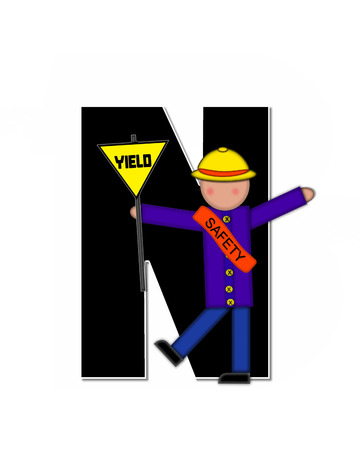 patrol: The letter N, in the alphabet set Children School Patrol, is black and outlined with white.  Child dressed as crossing guard wears banner, hat and carries sign. Stock Photo