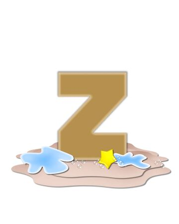 tan: The letter Z, in the alphabet set Ocean Swimming is tan.  Letter sits on beach and is decorated with water, bubbles and yellow starfish. Stock Photo
