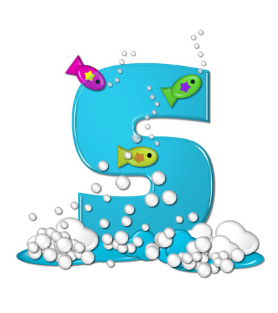 bubble water: The letter S, in the alphabet set Bubbly Fish, is bright aqua and has bubbles and wave action at bottom of letter.  Transparent layer allows colorfor fish to swim in and out of letter.