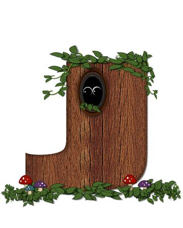 knothole: The letter J, in the alphabet set Log is filled with wod texture.  Vines and colorful mushrooms grow around letter.  Some letters have knot holes with peeking eyes. Stock Photo