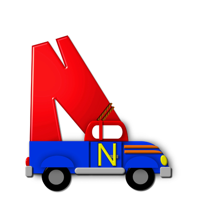 roped: The letter N, in the alphabet set Alphabet On the Go is tied with rope to transportation vehicles in different colors, shapes and sizes.  Letter is 3D, red and ready to GO!