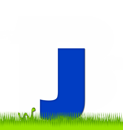 eaten: The letter J, in the alphabet set Apple a Day Eaten Away, is blue.  Letter is sitting on green grass.  A green worm crawls around letter.
