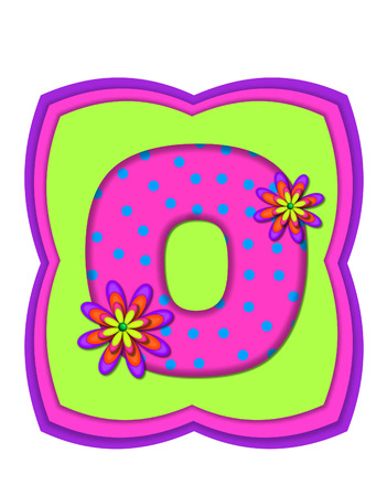 hot pink: The letter O, in the alphabet set Daisy Daze, is colored in vivid pink with teal polka dots.  It is decorated with four layered daisies.  All sit on a pillow of neon green, hot pink and purple.