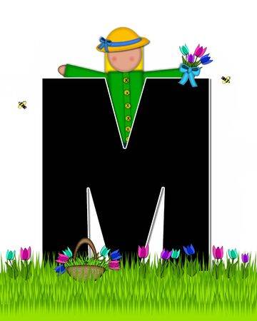 The letter M, in the alphabet set Children Tulip Patch is black outlined with white.  Children hold tulip bouquet and stand in colorful tulip patch.