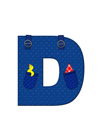 straps: The letter D, in the alphabet set Farmer Brown, is denim with straps and pockets.  Checkered handkerchief peeks out of pocket.