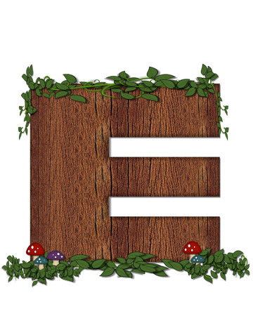 The letter E, in the alphabet set Log is filled with wod texture.  Vines and colorful mushrooms grow around letter.  Some letters have knot holes with peeking eyes.