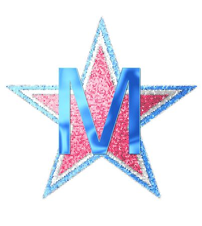 The letter M, in the alphabet set Red White and Blue is blue metallic.  Letter sits on three mosaic stars of red, white and blue.