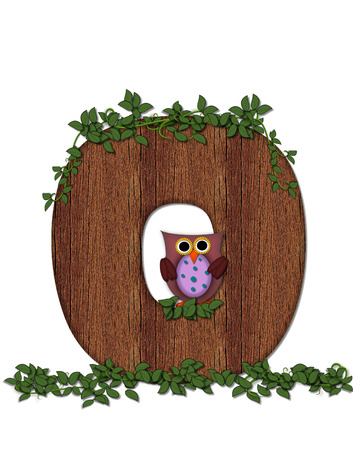 The letter O, in the alphabet set Deep Woods Owl is filled with wod texture and has vines growing all over it.  Owl sits on log-style letter.