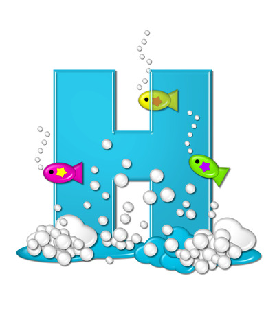 The letter H, in the alphabet set Bubbly Fish, is bright aqua and has bubbles and wave action at bottom of letter.  Transparent layer allows colorfor fish to swim in and out of letter.