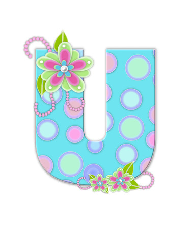 softly: The letter U, in the alphabet set Softly Spotted, is soft aqua.  Letter is decorated with pastel circles, flowers and beads. Stock Photo